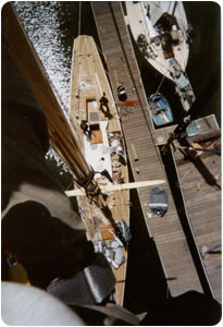 A view from aloft on the Joyant, a 58' 1911 P-Class Herreshoff racing yacht.