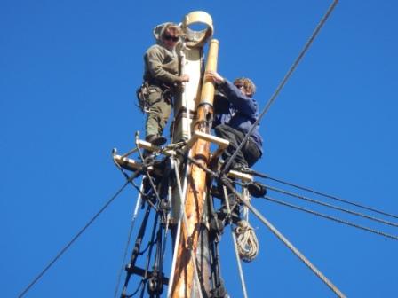 sending-up-main-tgallant-mast- on Picton Castle